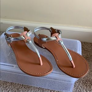 Coach Silver and Tan Sandals 6 1/2 Worn Twice